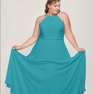 Plus Size Halter Chiffon Bridesmaid Dress